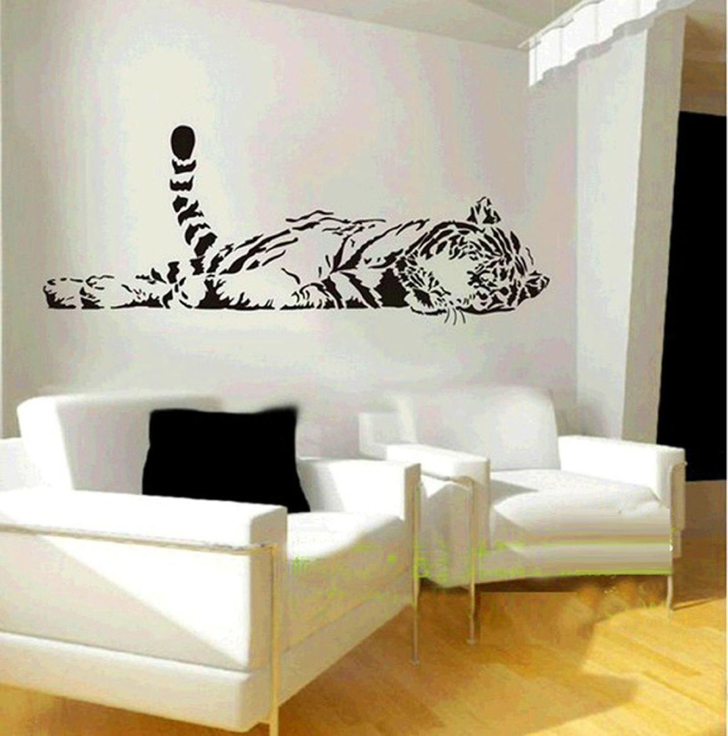 Best Amazon Com Animal Wild Zoo Lying Tail Up Tiger Wall Decal Sticker Living Room Stickers Black 640 x 480