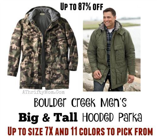 7f56ba9898c76 Winter coat clearance sale, Boulder Creek Men's Big & Tall Hooded Parka