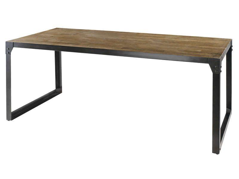 Table rectangulaire 180 cm worker en acacia massif et pieds acier