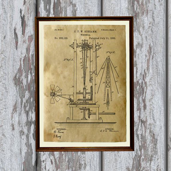 Windmill print print on handmade antique paper technical drawing windmill print print on handmade antique paper technical drawing industrial blueprint poster very nice 83 x 117 a4 steampunk print paper for malvernweather Image collections