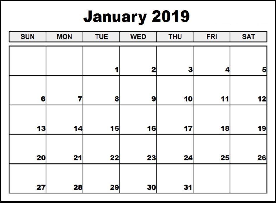 January 2019 Calendar Pdf Printable Template Free Calendar