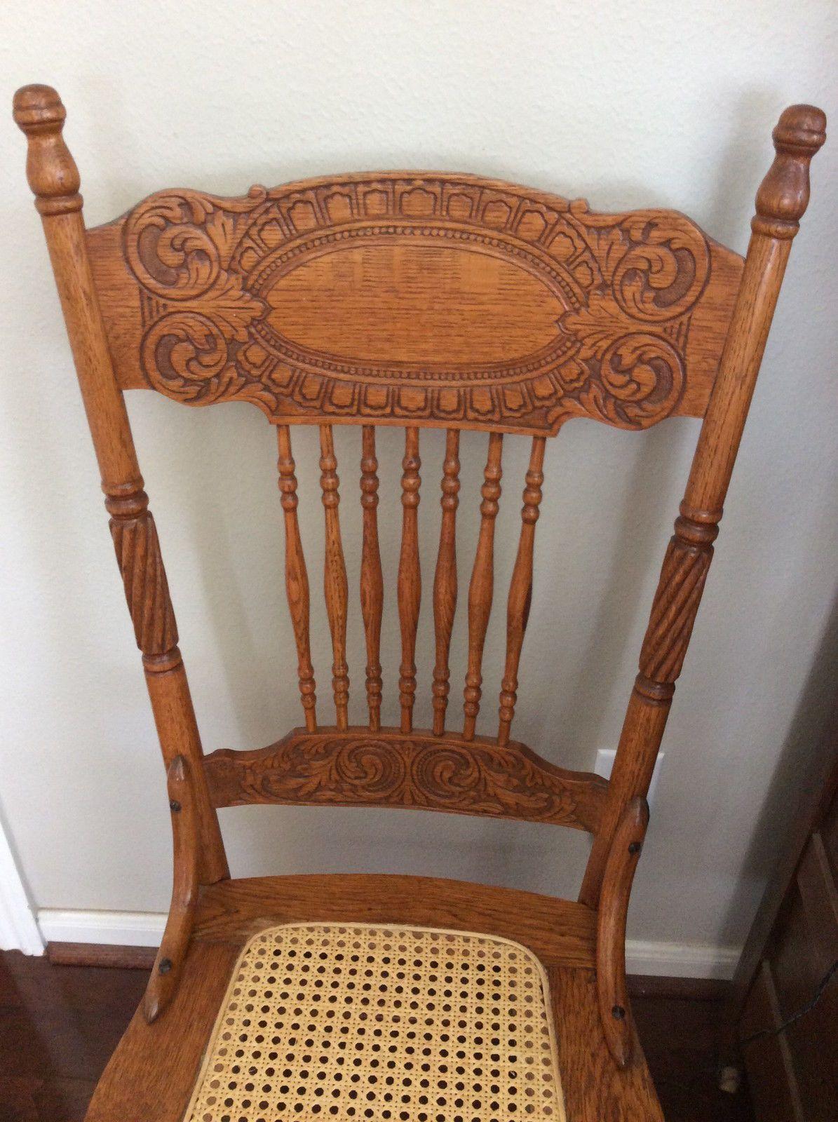 ANTIQUE OAK LARKIN #1 Pressed Back Chairs-Circa 1900-Cane Seat-matching - ANTIQUE OAK LARKIN #1 Pressed Back Chairs-Circa 1900-Cane Seat