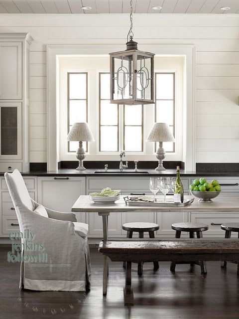 great looking kitchen love the windows at the sink the wood plank rh pinterest com