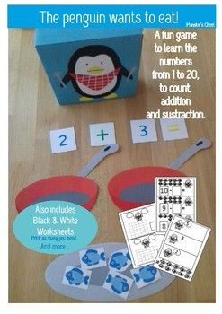 "Here you have a material to work the numbers.They are two PDF files.The first four sheets of the first file contain the game ""the penguin wants to eat""  #funstuff #games #forkids #tolearn #numbers #basicmath #worksheets"