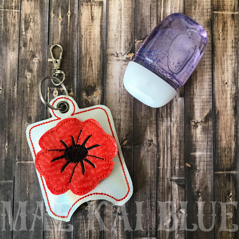 Poppy 3d Hand Sanitizer Pocket Keeper Holder Keychain Bagtag