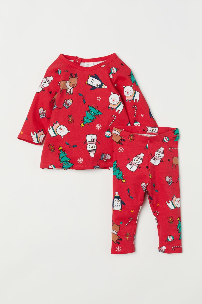 314cdb6269519 H&M Top and Leggings - Red   winter 2018 baby wardrobe   Printed ...