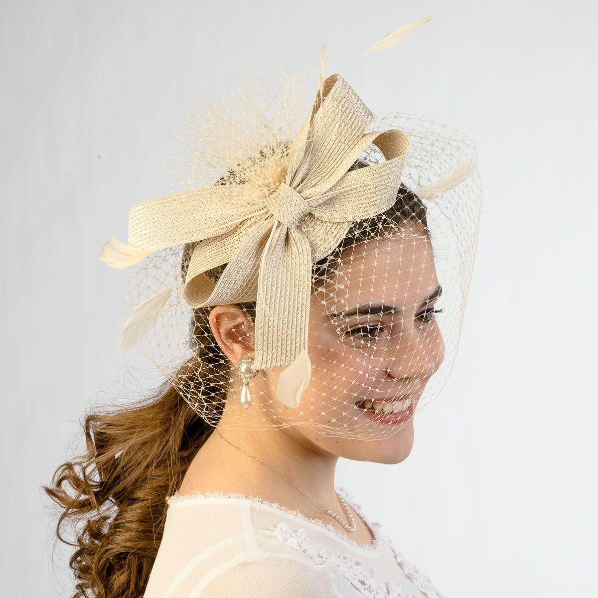 Beige Veil And Flower Crinoline Comb Fascinator_ by KaKyCo| sye.com