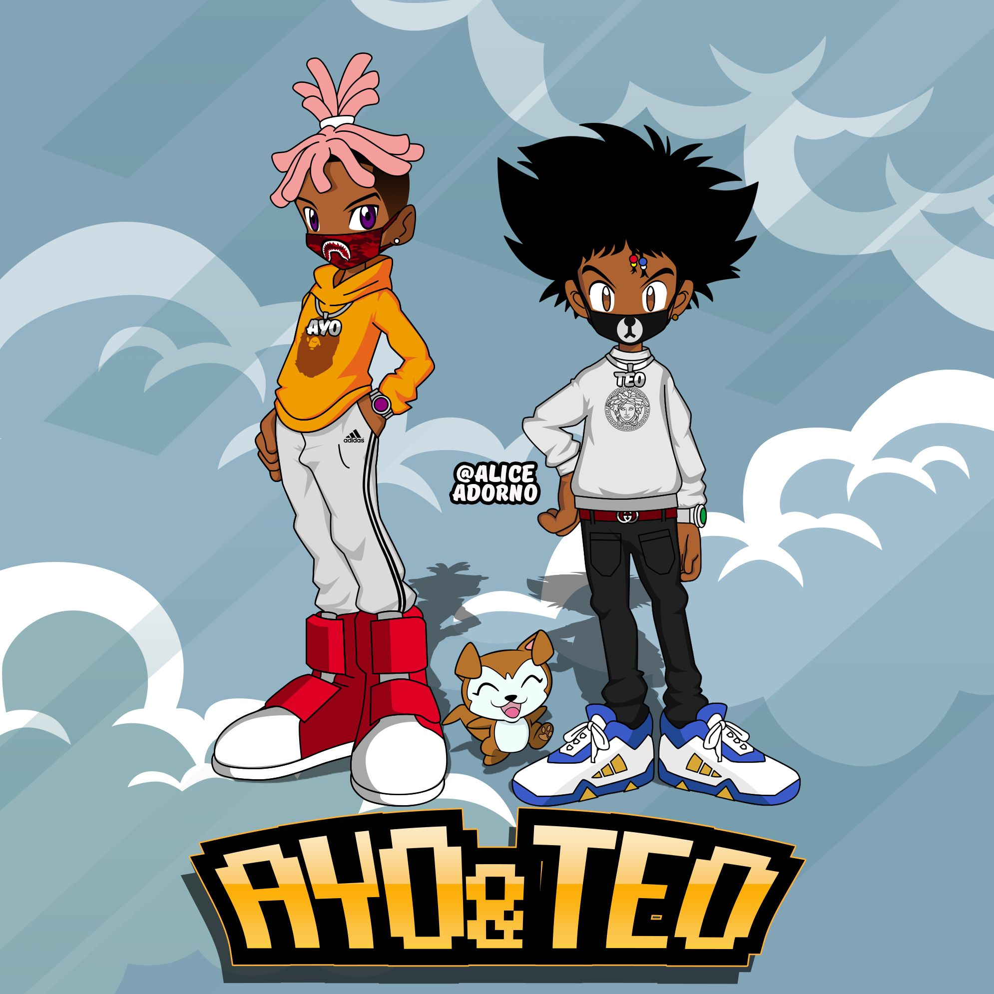ayo and teo digimon style made by aliceadorno cartoon rapper