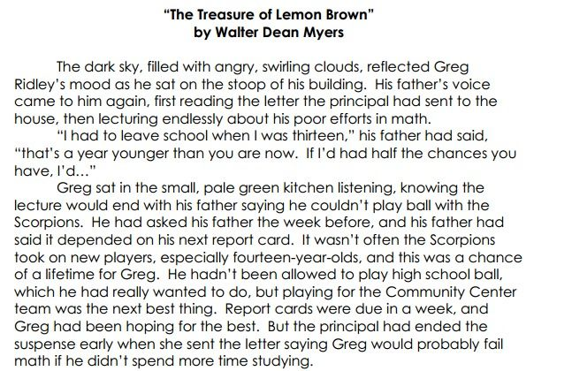 The Treasure Of Lemon Brown By Walter Dean Myers Stuck In
