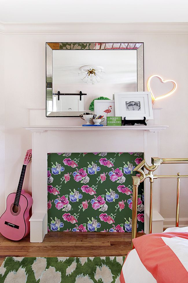 Kate Spade inspired bedroom. Floral Fireplace, pale pink walls ...