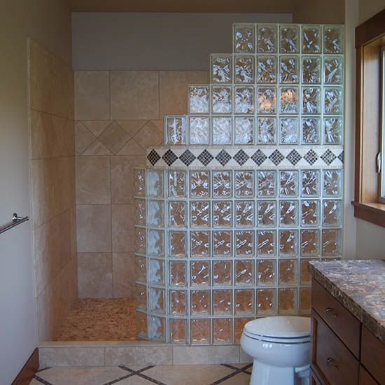 Doorless Shower With Glass Block Wall