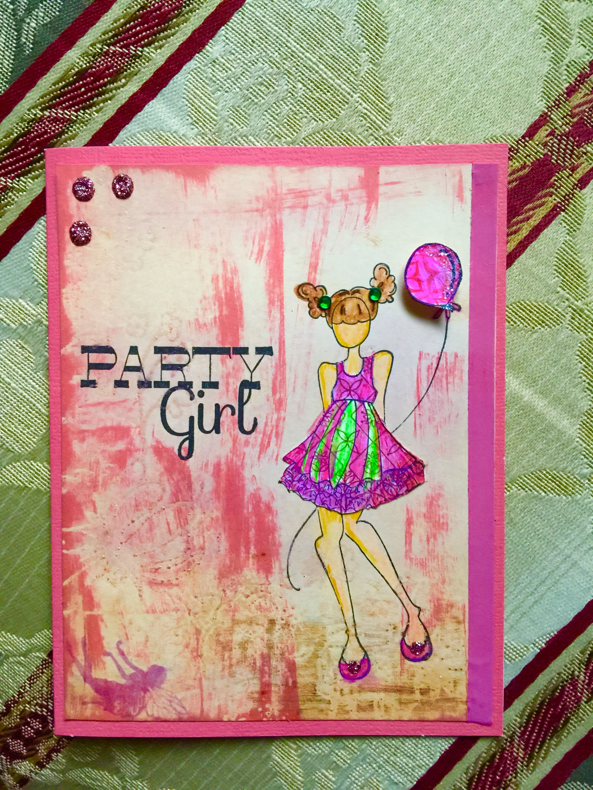 Handmade birthday card party girl stamp by Julie nutting