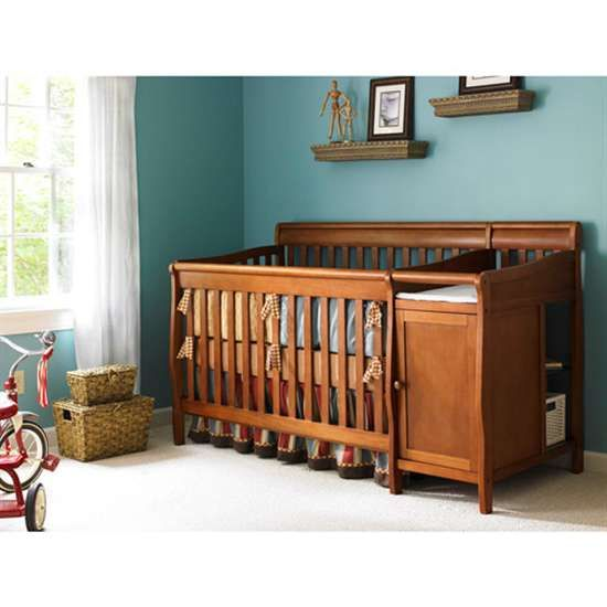 Europa Baby Seville Crib n Changer Combo Cinnamon | Convertible Crib ...