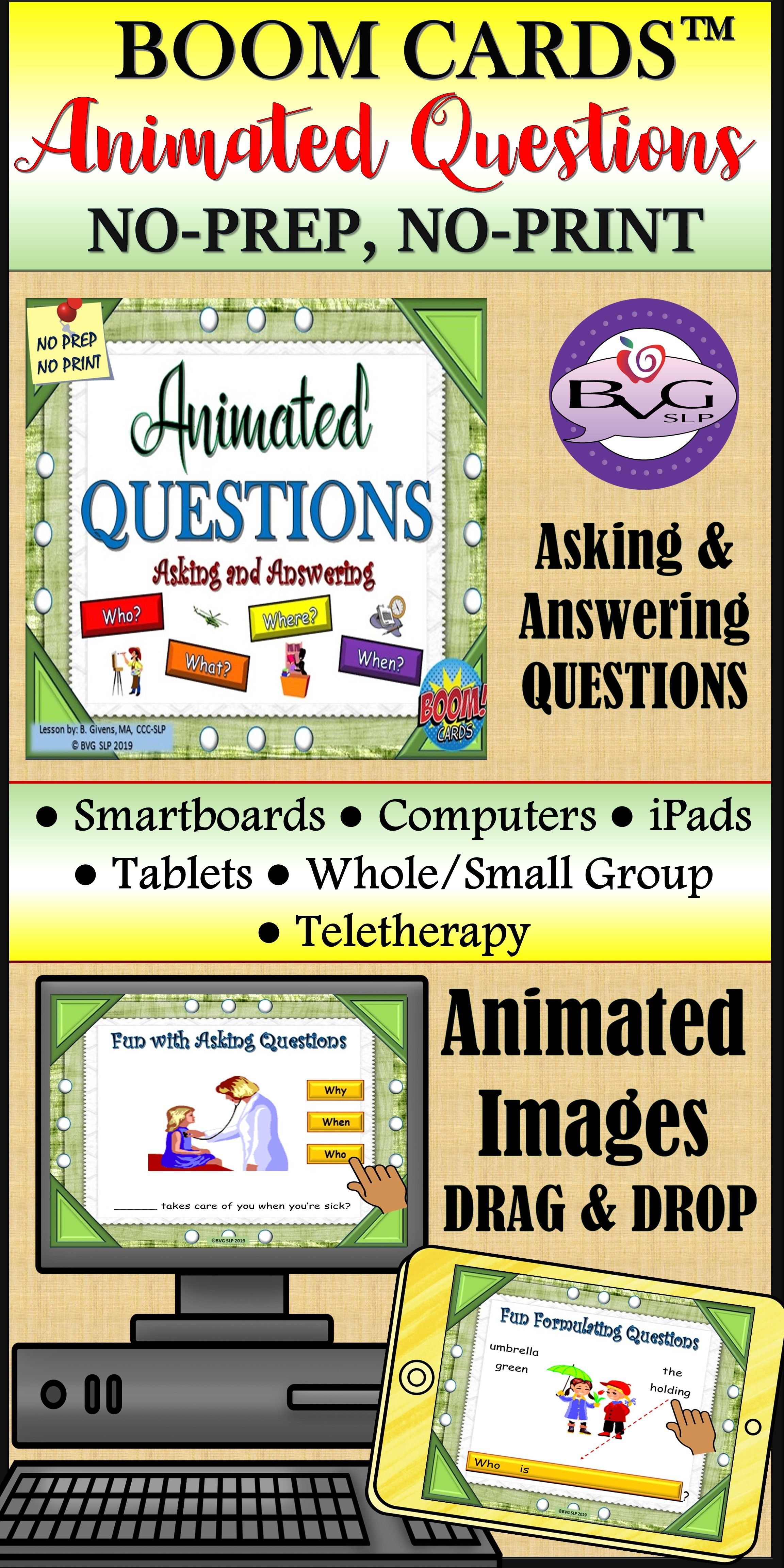 Boom Cards Asking Amp Answering Questions Animated