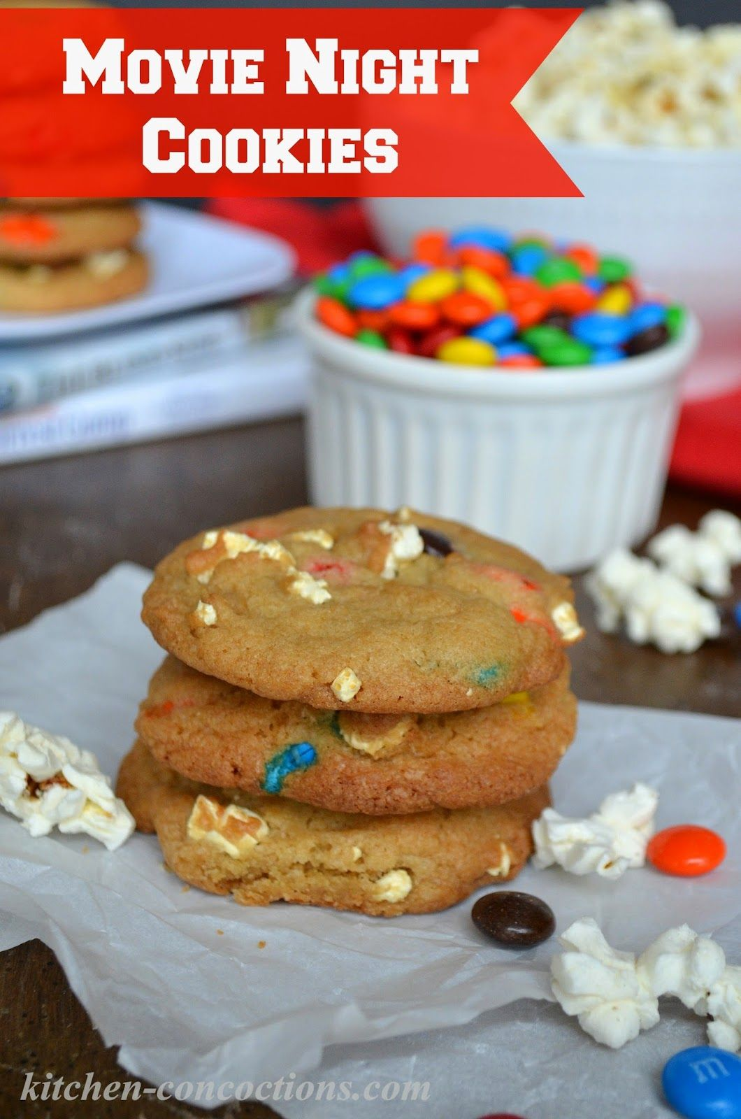 Movie Night Popcorn & M&M's Cookies {Plus Movie Night Gift Baskets} - Kitchen Concoctions