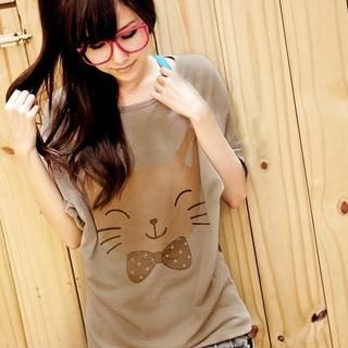 Dolman-Sleeve Cat Print Top from #YesStyle <3 YoungBaby YesStyle.com