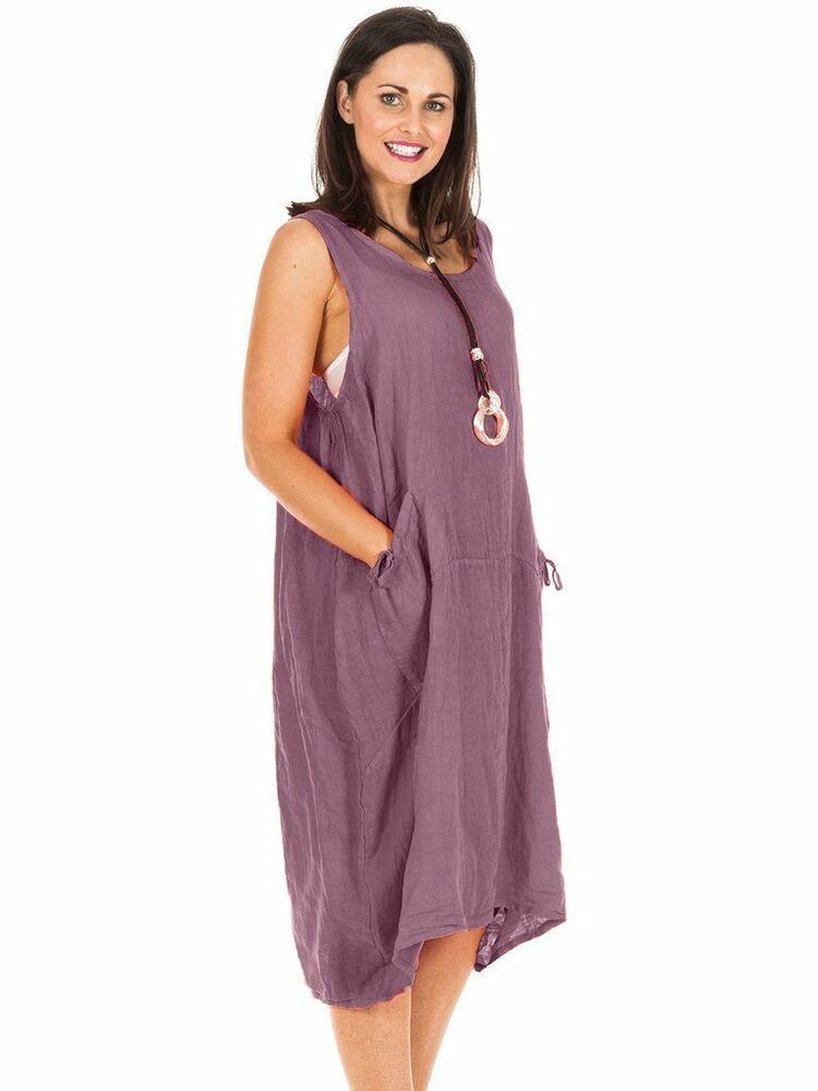 561a63300b Dress Lagenlook Linen Bow Pocket Aubergine Purple Plus Sz 18-22 Loose Fit  Cruise