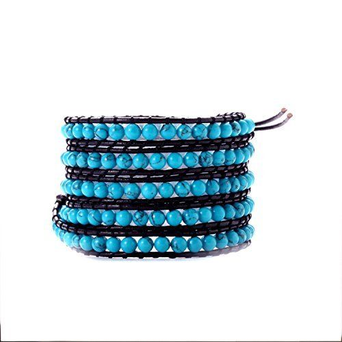 Newstone 33 Turquoise Beads On Natural Black Leather Wrap Bracelet With Onyx Snap Button Lock  Price : $22.50 http://www.juzustore.com/Newstone-Turquoise-Natural-Leather-Bracelet/dp/B00LO7MAGA