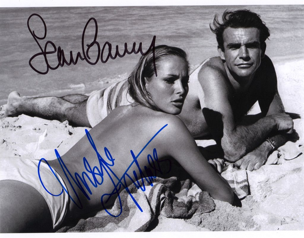 An 8X10 Photo From The 1962 James Bond Film Dr No Signed In Person By Sean Connery (James Bond) & Ursula Andress (Honey Ryder) Nice On Set Photo