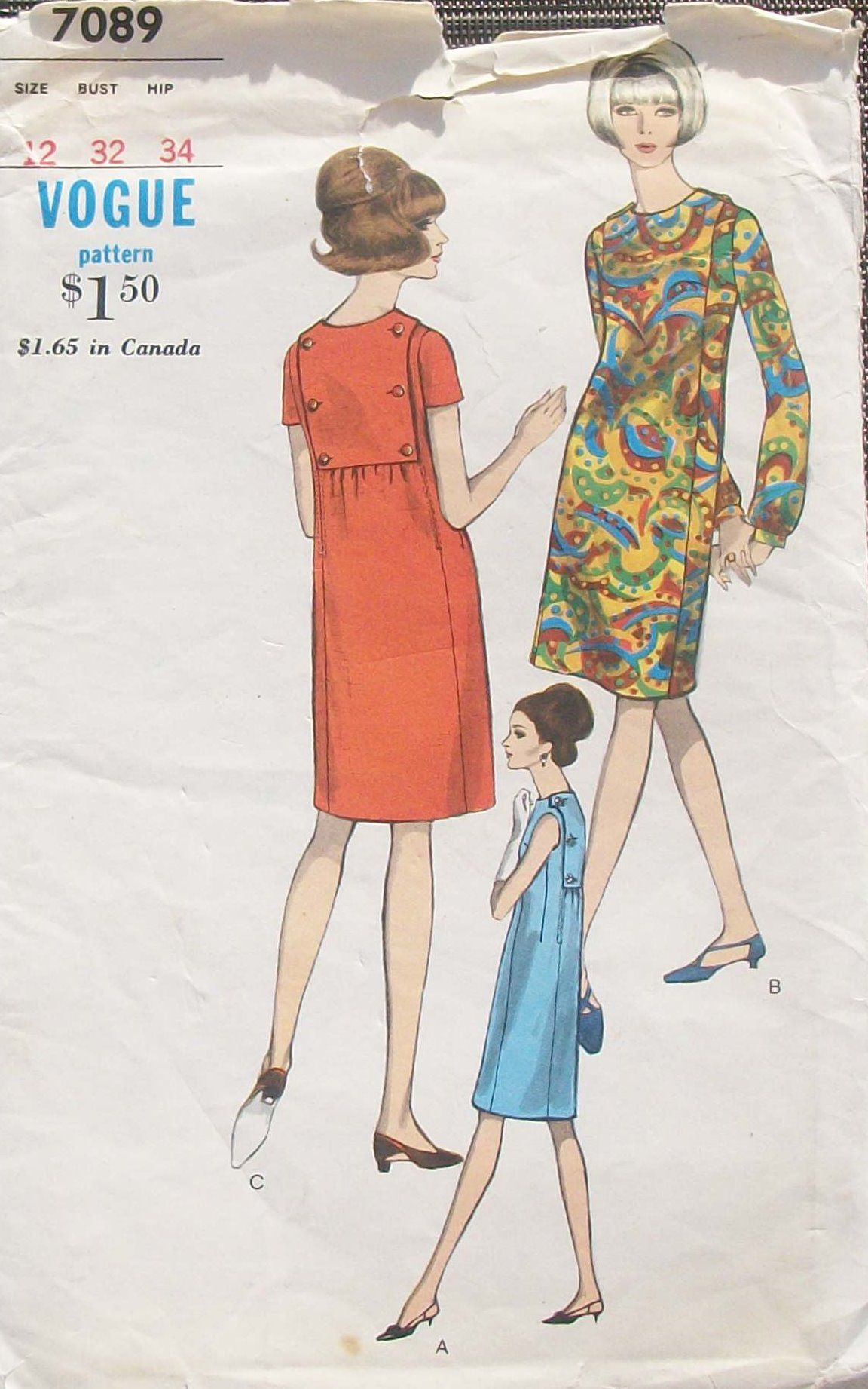 Vogue Dress Patterns | Pattern makes one piece dress. Slim dress has full length sleeves ...