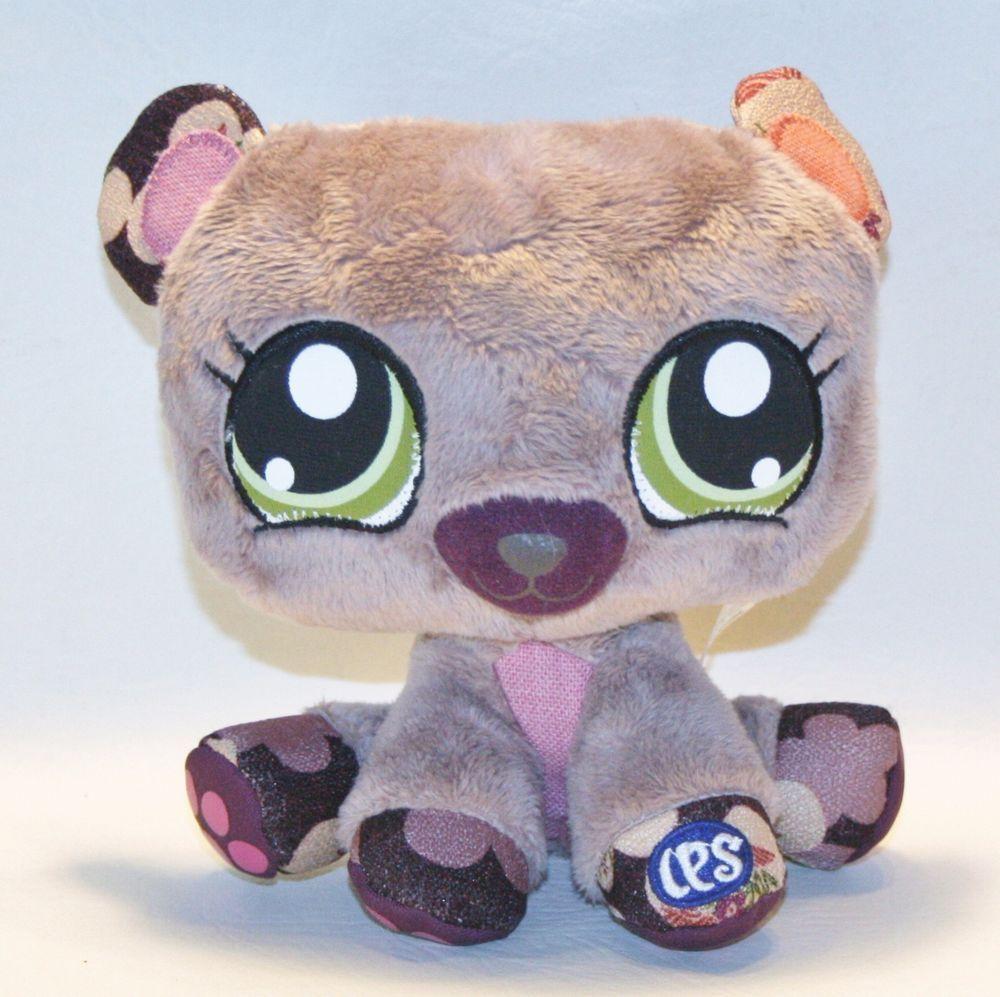 """LITTLEST PET SHOP Bear plush stuffed toy animal doll 6.5"""" Lovey Purple Green eye #LittlestPetShop"""