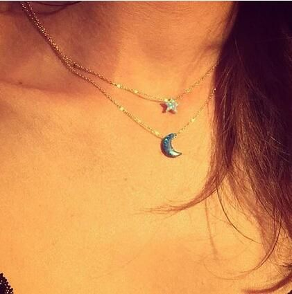 adorable moon & star opal necklace