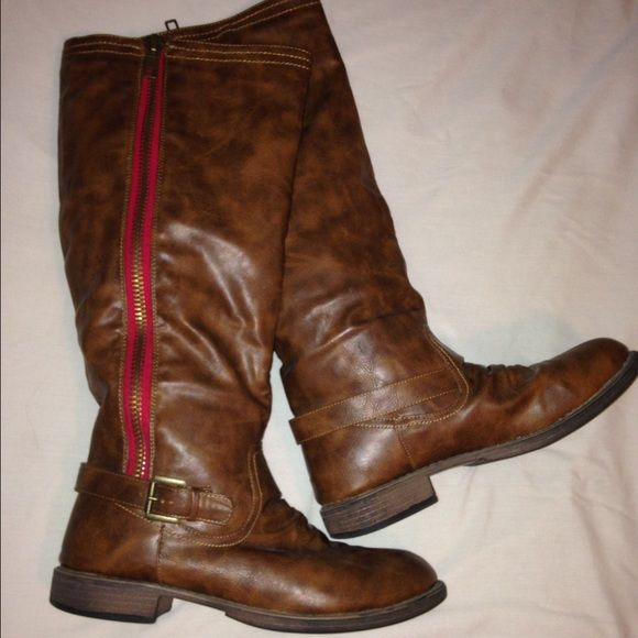 Classic Brown Boots Absolutely love these boots! Size 9. Only worn for one season thanks to my feet deciding to grow. No scratches or scuffs. Bottom is barely worn in. Love these because of the red statement stripe along the side. Fall just below the knees! Willing to receive offers. Thanks. :) Charlotte Russe Shoes Winter & Rain Boots