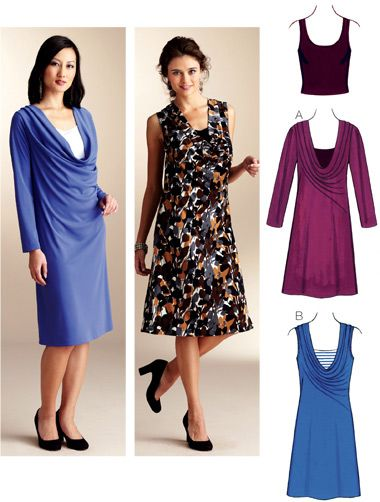 Kwik Sew 3825 - cowl neck access and top underneath - could adapt ...