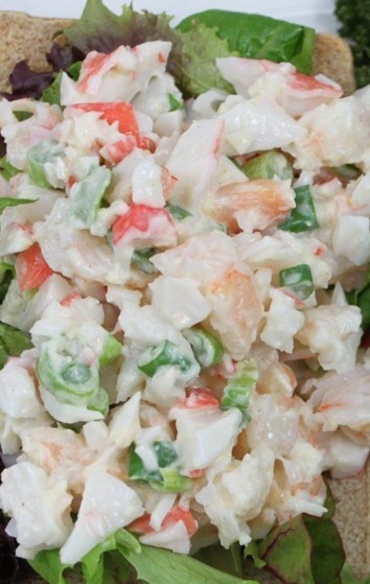 Crab & Shrimp Salad --> I can't eat it but I'm sure my fiance will love it