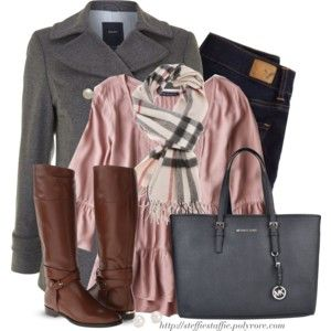 Gray Pea coat , Tiered pink top & Plaid scarf