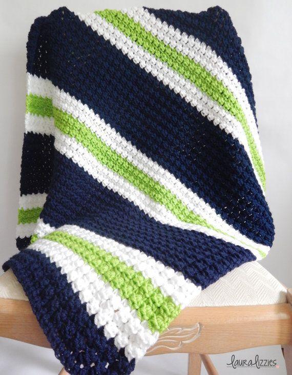 Twin Crochet Striped Baby Blanket 1 Navy White Green 2 Etsy Striped Crochet Blanket Crochet Blanket Patterns Baby Boy Crochet Blanket
