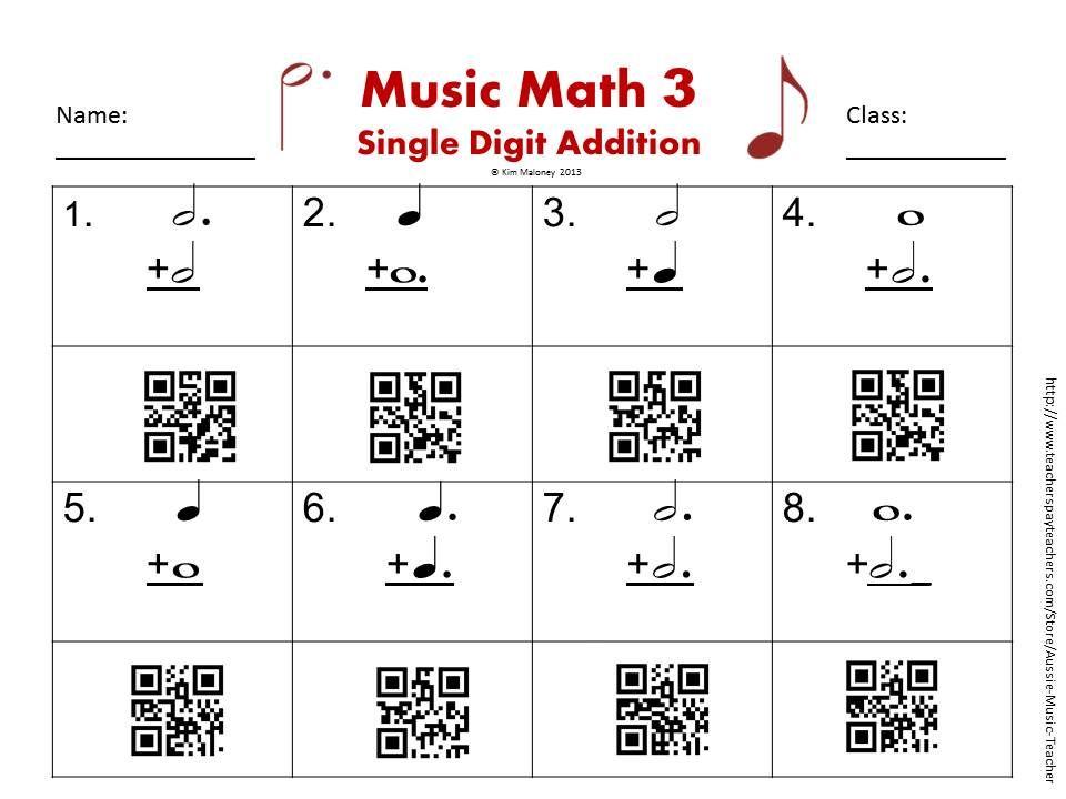 Music Math With Qr Codes Qr Codes Math And Teaching Music