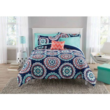 Free 2 Day Shipping Buy Mainstays Navy Medallion Bed In A