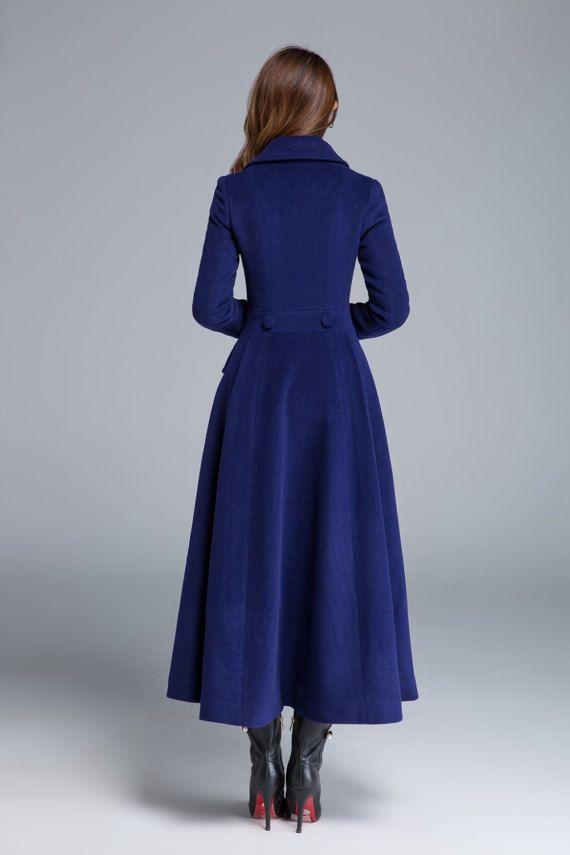 ef408434a0695 Long wool coat wool coat winter coat blue coat pleated