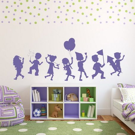 purple set fun party kids wall art stickers for kids playroom design ideas cute - Wall Design For Kids