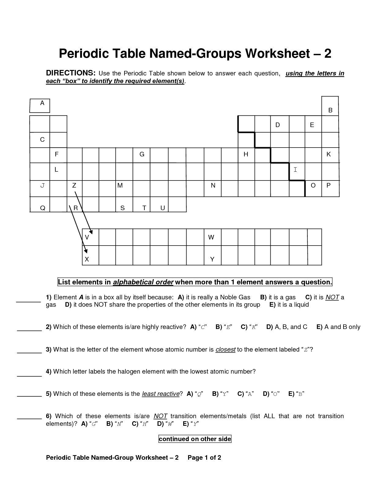 The Periodic Table Worksheet Key