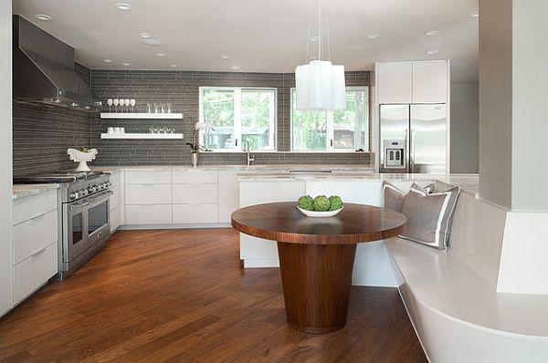 17 Kitchen Tables With Subtle Charm  White Kitchen Interior Fascinating Contemporary Kitchen Tables Design Decoration