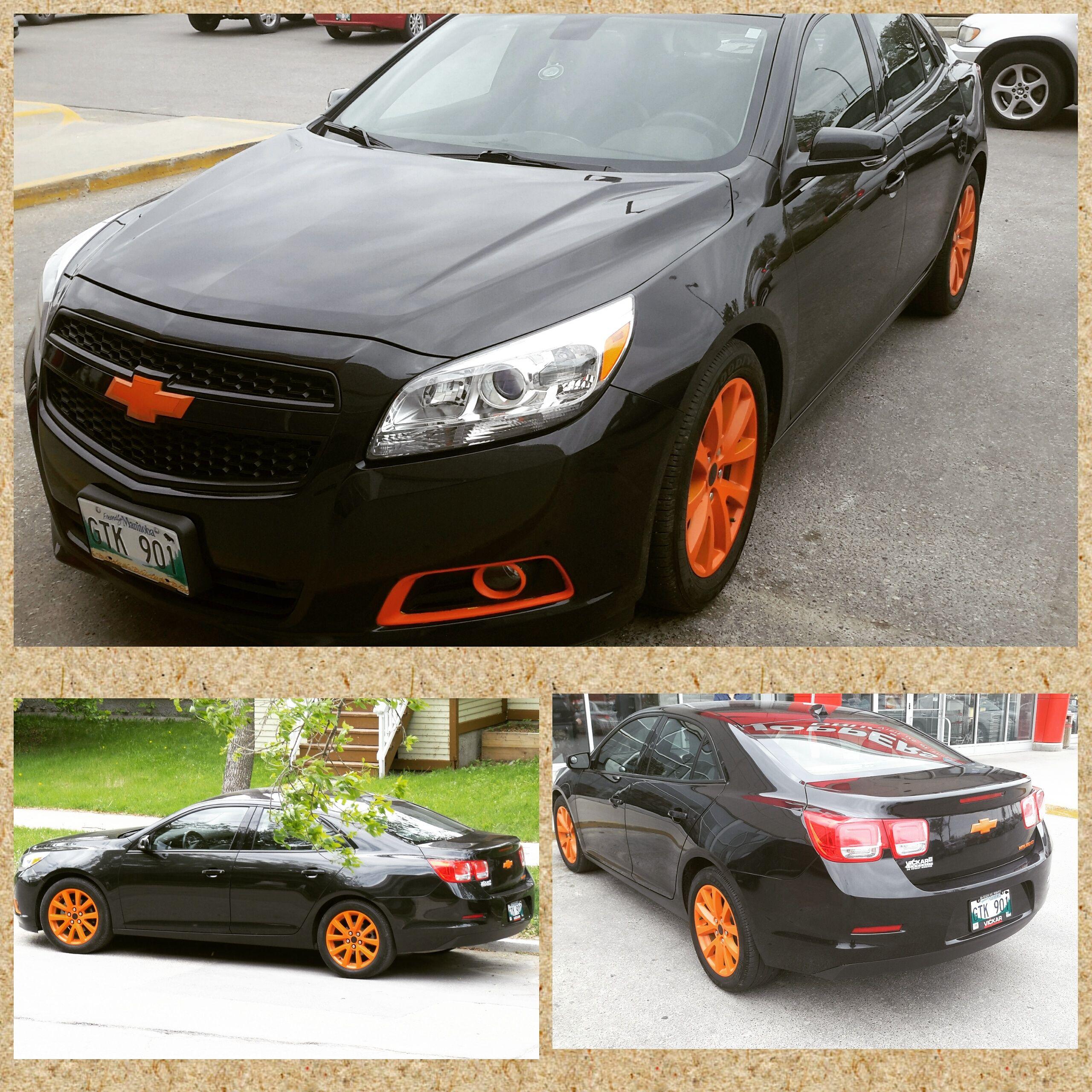 My 2013 chevy malibu plasti dipped black trims and tangerine orange full spectrum wheels