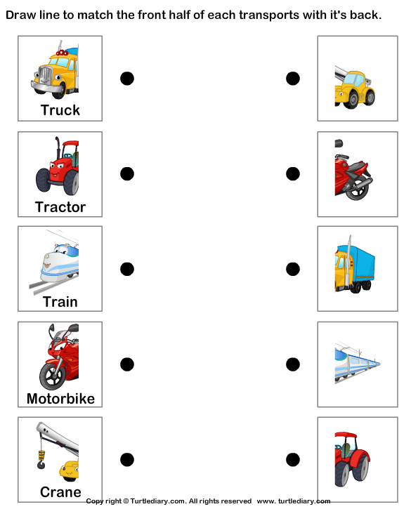 Transport vocabulary for kids learning English | Printable resources