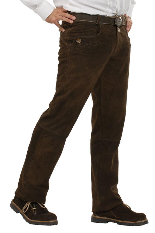Lange Lederhose dunkelbraun 'Vincent' | Lederhose Almsach ...