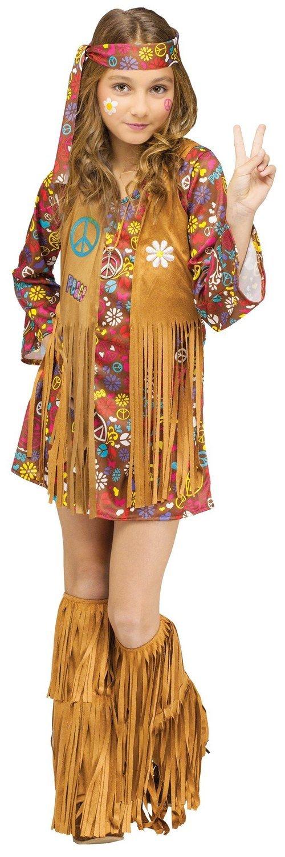 dd8f5fd9ff Amazon.com: Fun World Big Girls' Peace & Love Hippie Costume (Medium): Toys  & Games