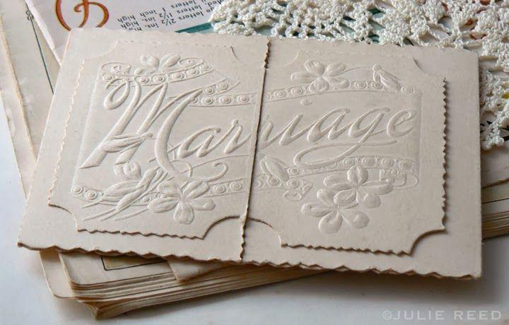 bricolage: Paper Love ~ Ephemera embossed and die cut wedding announcement