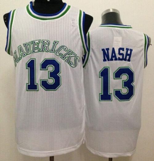 Mavericks  13 Steve Nash White Throwback Stitched NBA Jersey ... 6c0c4fdaa