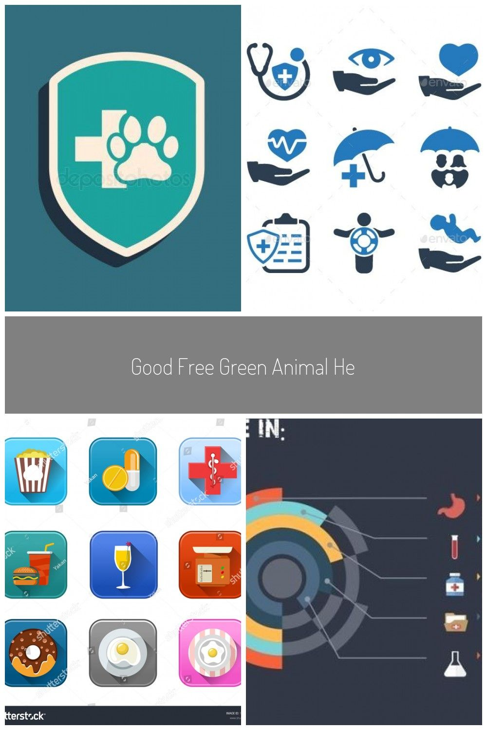 Good Free Green Animal Health Insurance Icon Isolated On Blue
