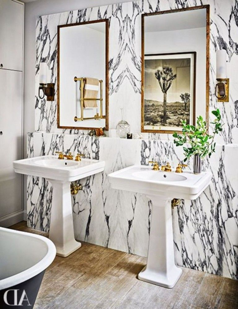 30+ Glam Transitional Bathroom with Marmoreal #bathroomideas