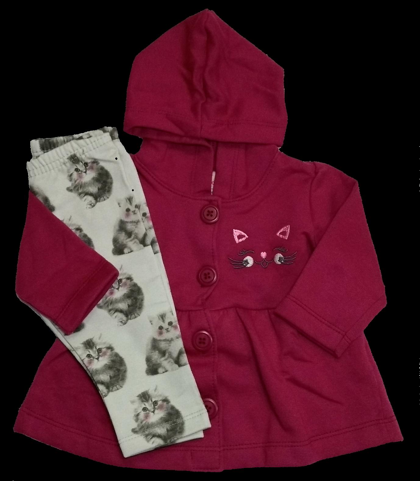 Conjunto de frio infantil Moletom Bebê menina Composto por Casaco Moletom e  Calça legging Flanelada Casaco 0b5537658b9