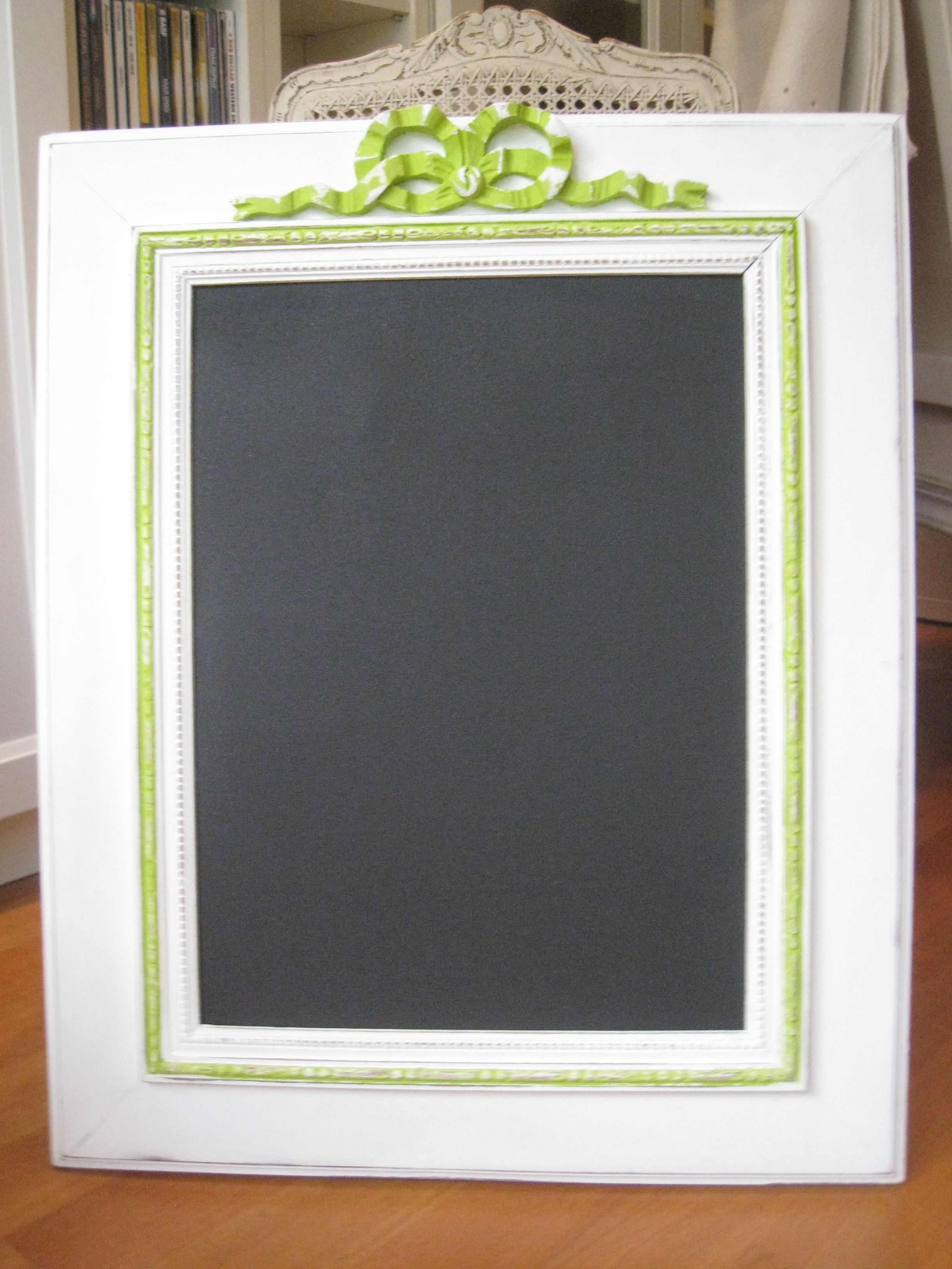 Home refurbished frame as a chalkboard! love the Fontange bow ...