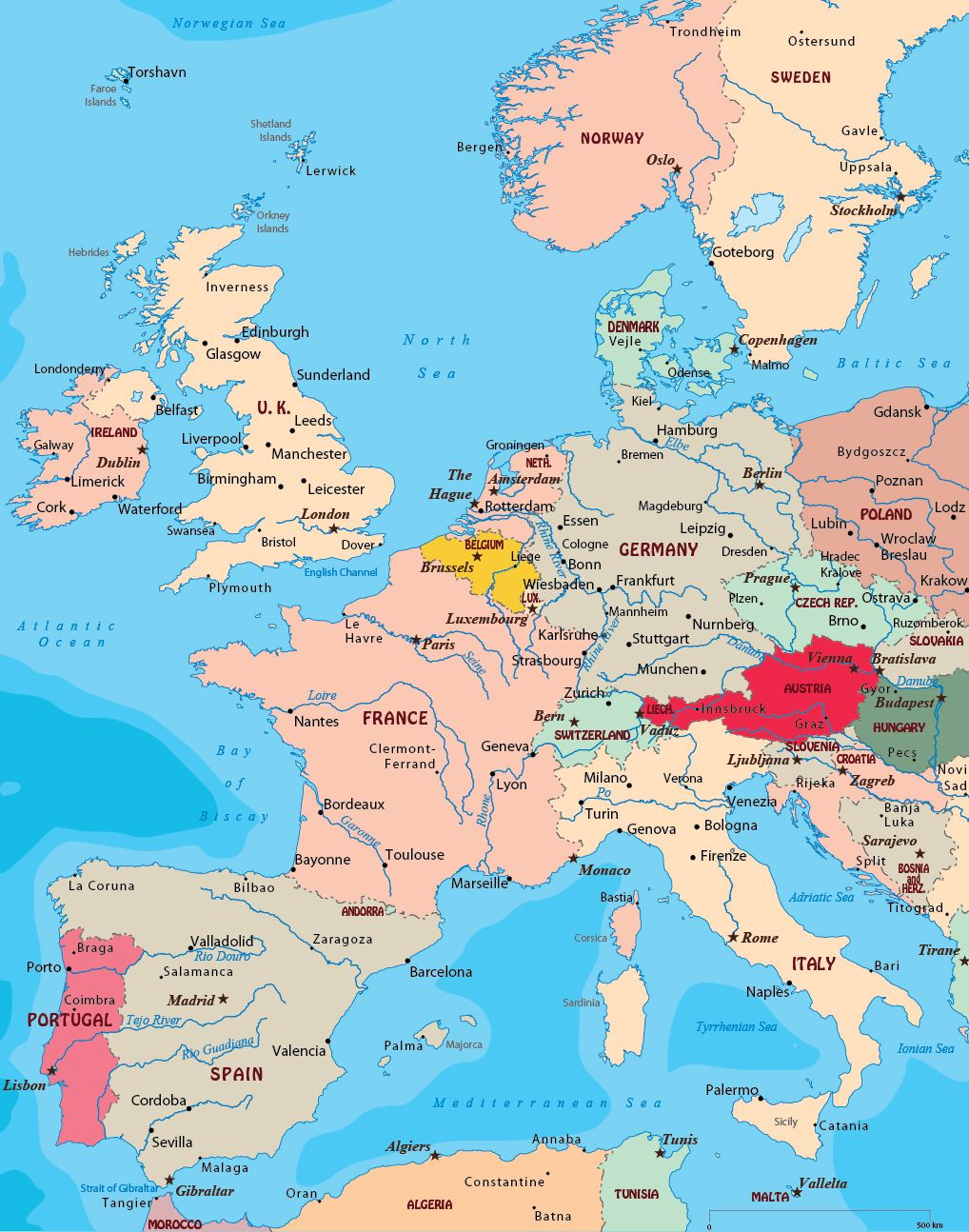 West Europe Europe Map Map