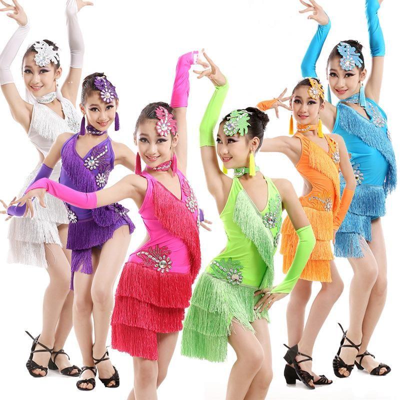 0f880e9dc5de 5 PCS Children Latin Dance Dress Child Ballroom Stage Clothing Girls ...