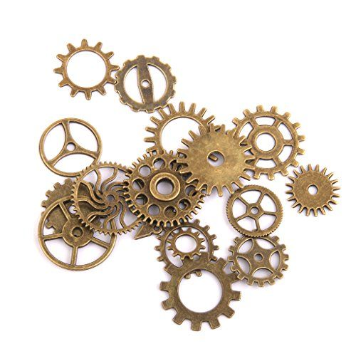Steampunk - Steampunk Gears Charms Jewellery Making Findings Pack of 17 Bronze